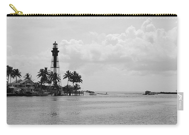 Landscape Carry-all Pouch featuring the photograph Black And White Lighthouse by Rob Hans