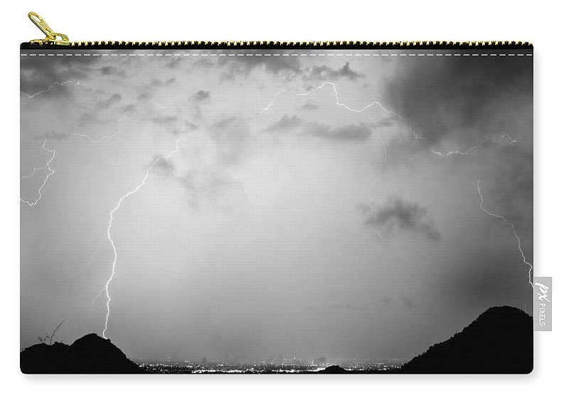 Lightning Carry-all Pouch featuring the photograph Black And White Lightning Dome Over City Lights by James BO Insogna