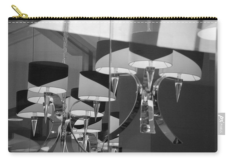 Chandeliers Carry-all Pouch featuring the photograph Black And White Lights by Rob Hans