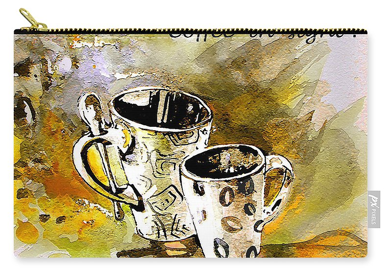 Cafe Crem Carry-all Pouch featuring the painting Black And White by Miki De Goodaboom