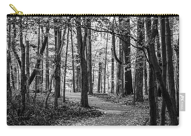 35mm Film Carry-all Pouch featuring the photograph Black And White Path In Autumn by John McGraw