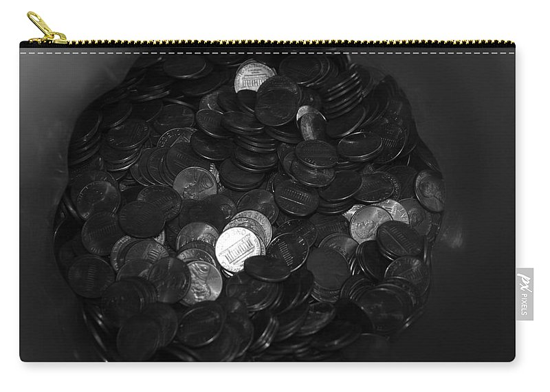 Abstract Carry-all Pouch featuring the photograph Black And White Pennies by Rob Hans