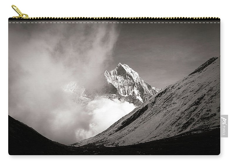 Snow Peak Nepal Day Light Cloud Peak Line Trail Trek Trekking Stunning View Nature Black While Outdoor Tourism Destination Carry-all Pouch featuring the photograph Black And White Photo Of Snow Peak In Nepal by Katesalin Pagkaihang