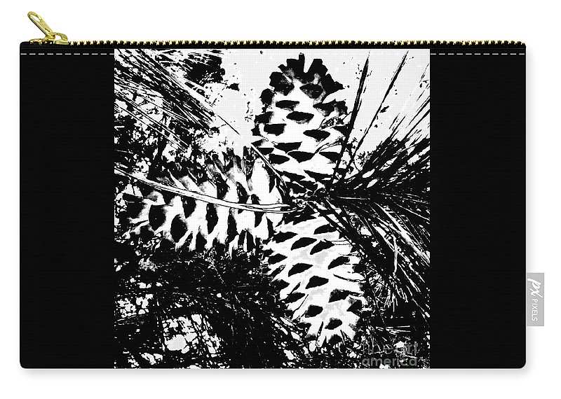 Black Carry-all Pouch featuring the photograph Black And White Pine Cone by Cindy New