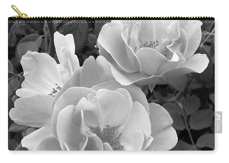 Rose Carry-all Pouch featuring the photograph Black And White Roses 1 by Amy Fose