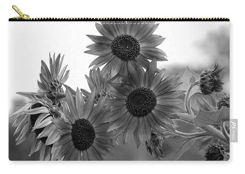 Flower Carry-all Pouch featuring the photograph Black And White Sunflowers by Amy Fose