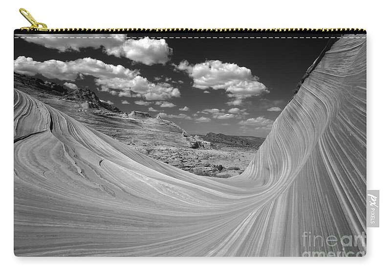 Sandstone Waves Carry-all Pouch featuring the photograph Black And White Swirling Landscape by Adam Jewell