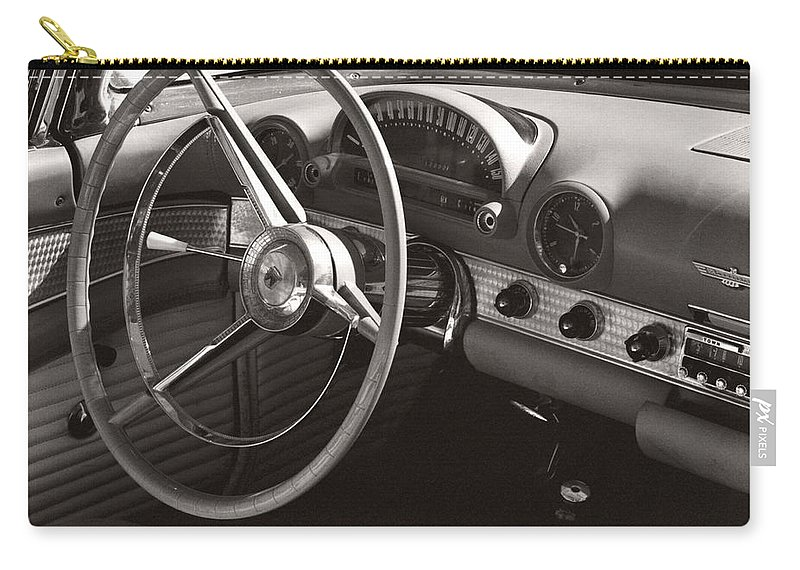 Black Carry-all Pouch featuring the photograph Black And White Thunderbird Steering Wheel And Dash by Heather Kirk