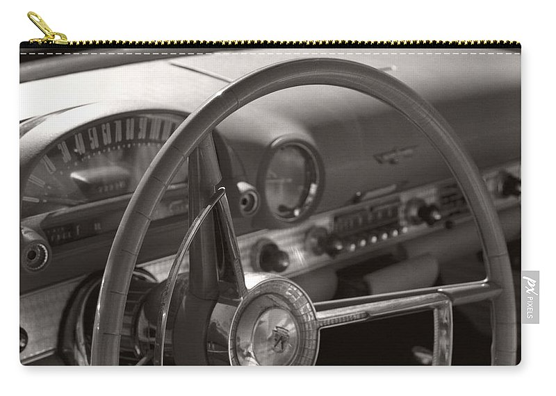 Black And White Photography Carry-all Pouch featuring the photograph Black And White Thunderbird Steering Wheel by Heather Kirk
