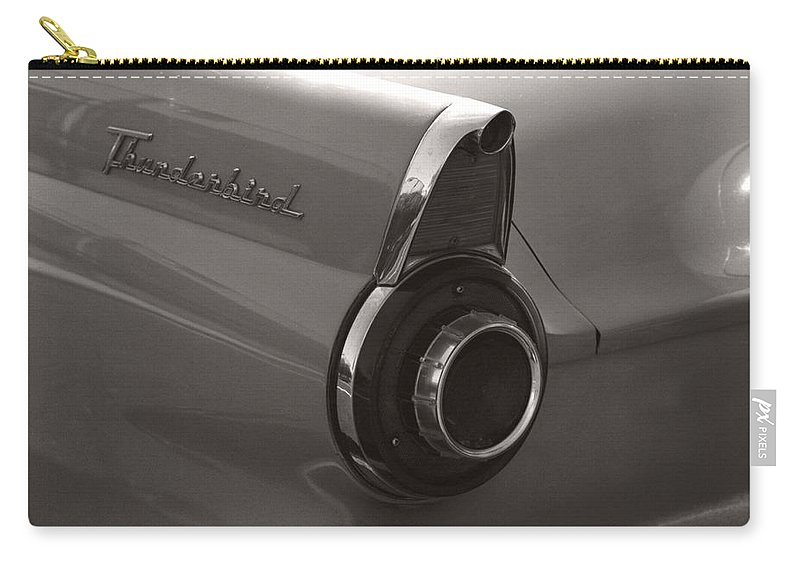 Black And White Photography Carry-all Pouch featuring the photograph Black And White Thunderbird Tail Fin by Heather Kirk