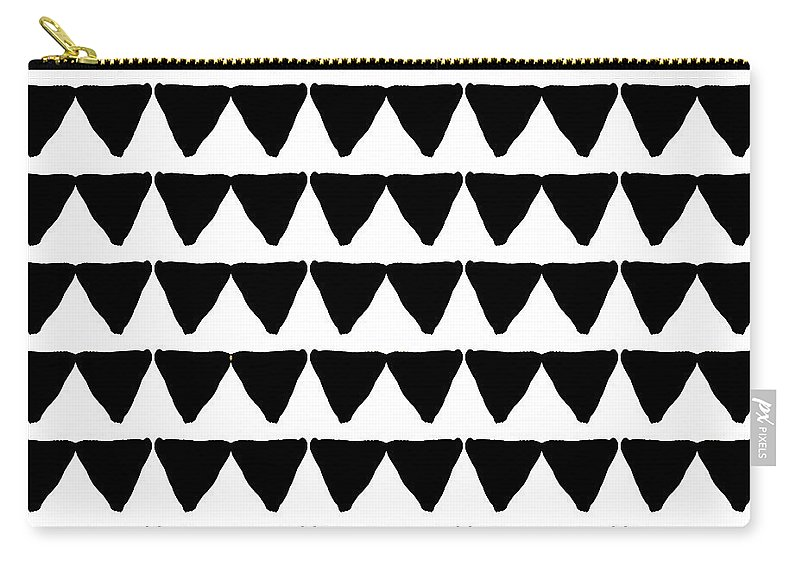 Triangles Carry-all Pouch featuring the mixed media Black And White Triangles- Art By Linda Woods by Linda Woods