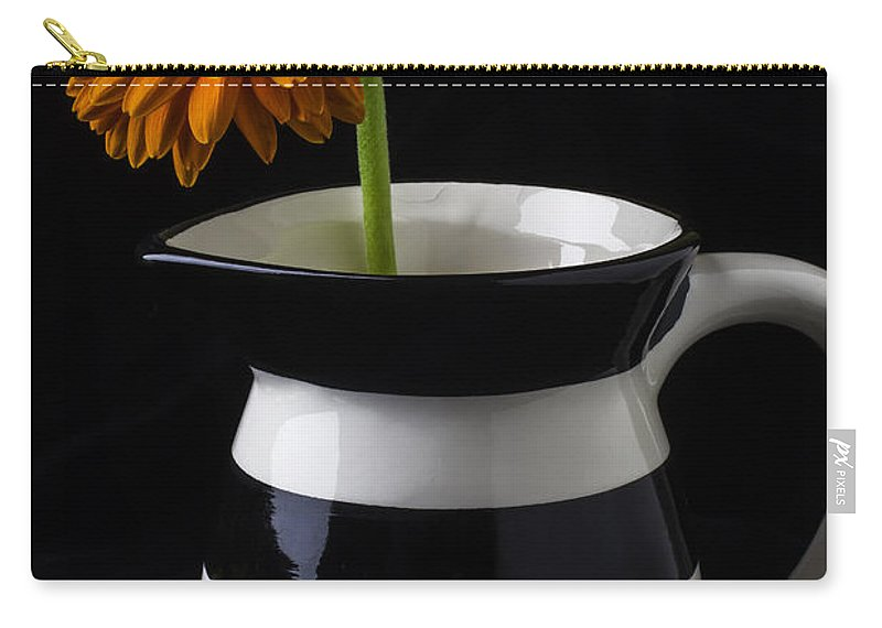 Black And White Carry-all Pouch featuring the photograph Black And White Vase With Daisy by Garry Gay