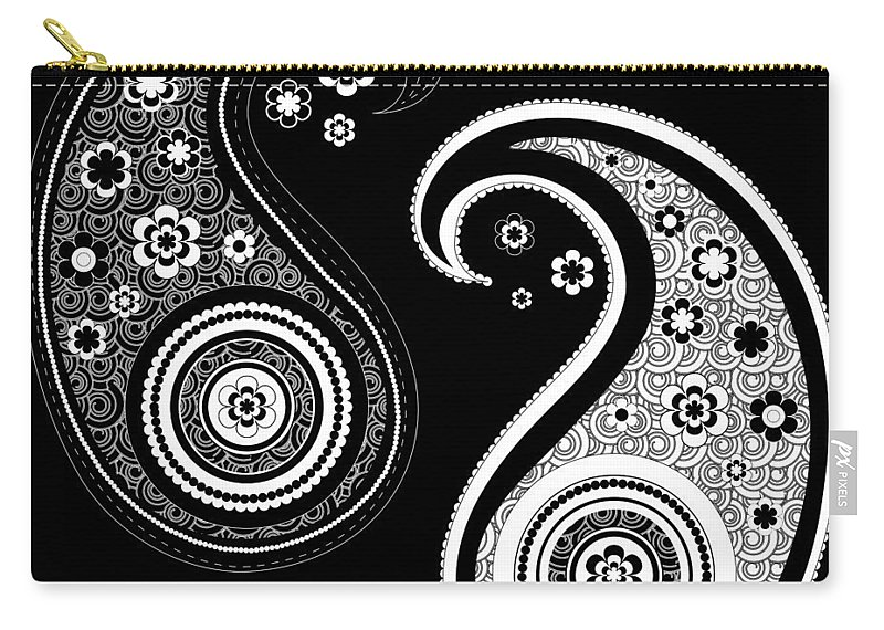 Black And White Yin Yang Paisley Design Carry All Pouch For Sale By