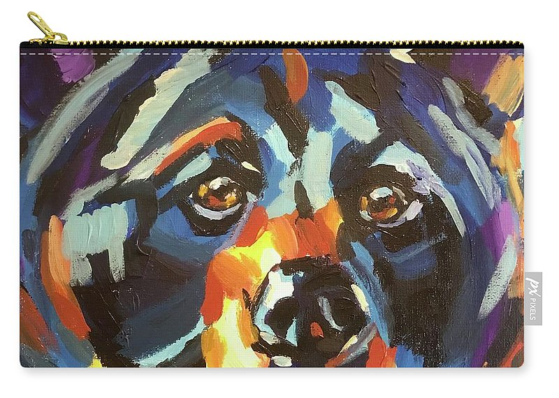 Black Bear Carry-all Pouch featuring the painting Black Bear - Black Night by Kathi Schwan