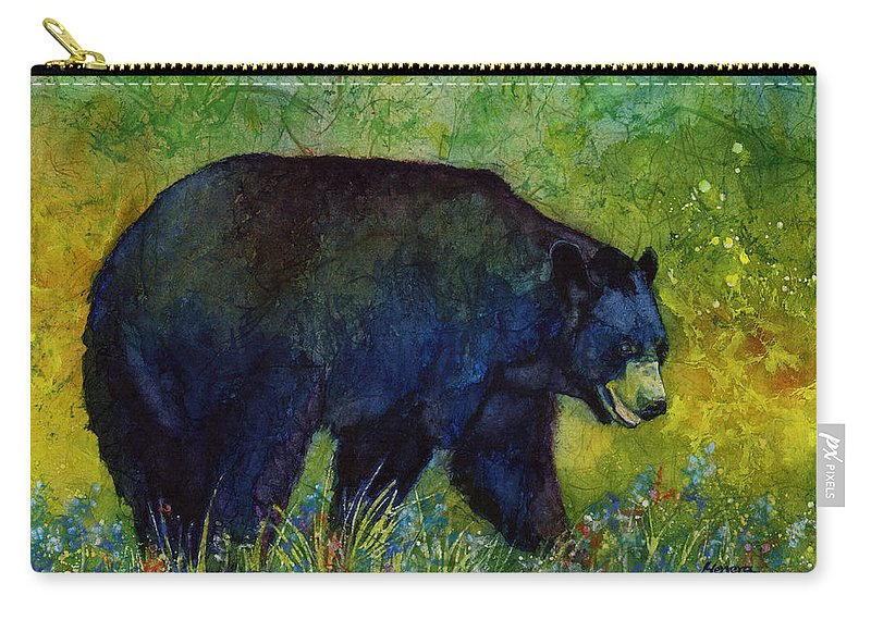 Bear Carry-all Pouch featuring the painting Black Bear by Hailey E Herrera