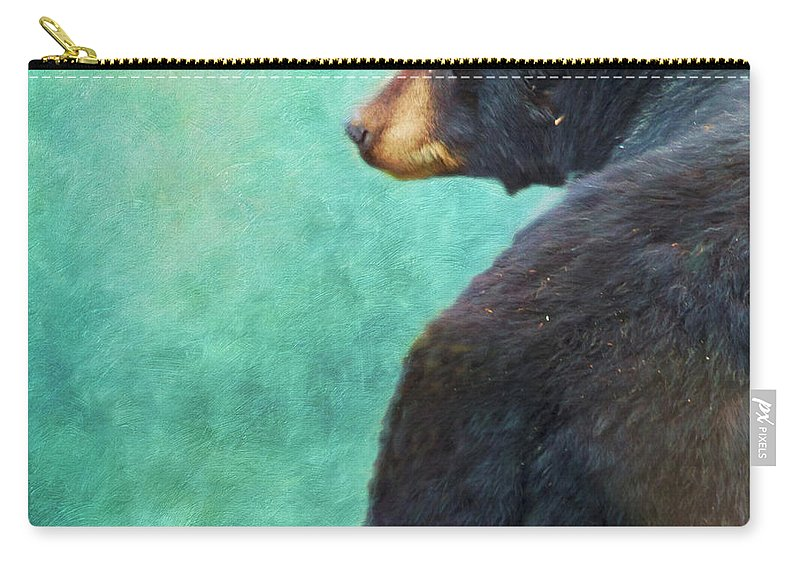 Wildlife Carry-all Pouch featuring the photograph Black Bear's Bum by Priska Wettstein