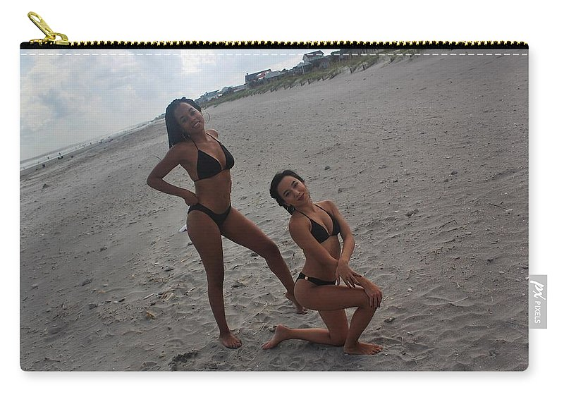 Ebony Carry-all Pouch featuring the photograph Black Bikinis 15 by Christopher White