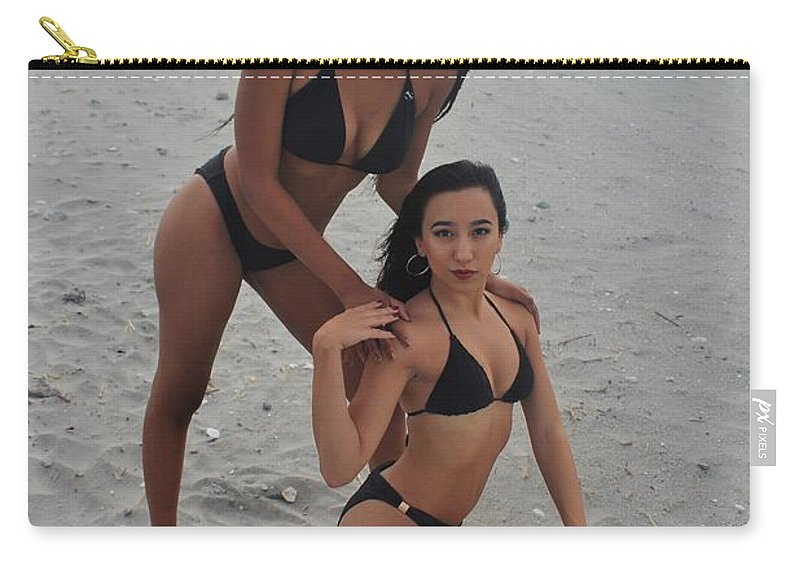 Ebony Carry-all Pouch featuring the photograph Black Bikinis 19 by Christopher White