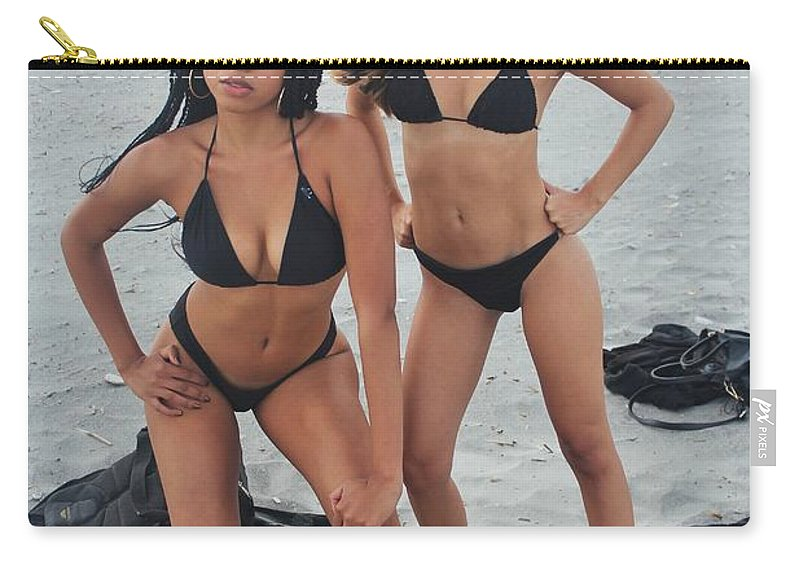 Ebony Carry-all Pouch featuring the photograph Black Bikinis 4 by Christopher White