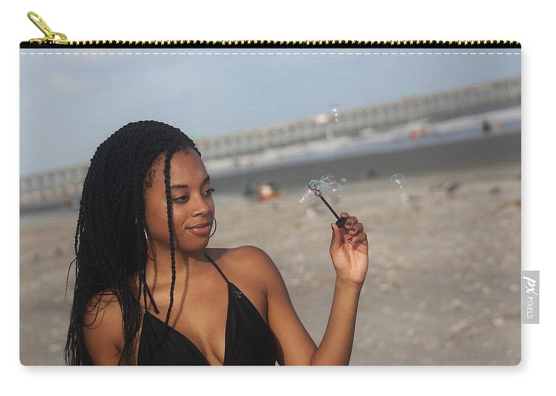 Ebony Carry-all Pouch featuring the photograph Black Bikinis 55 by Christopher White
