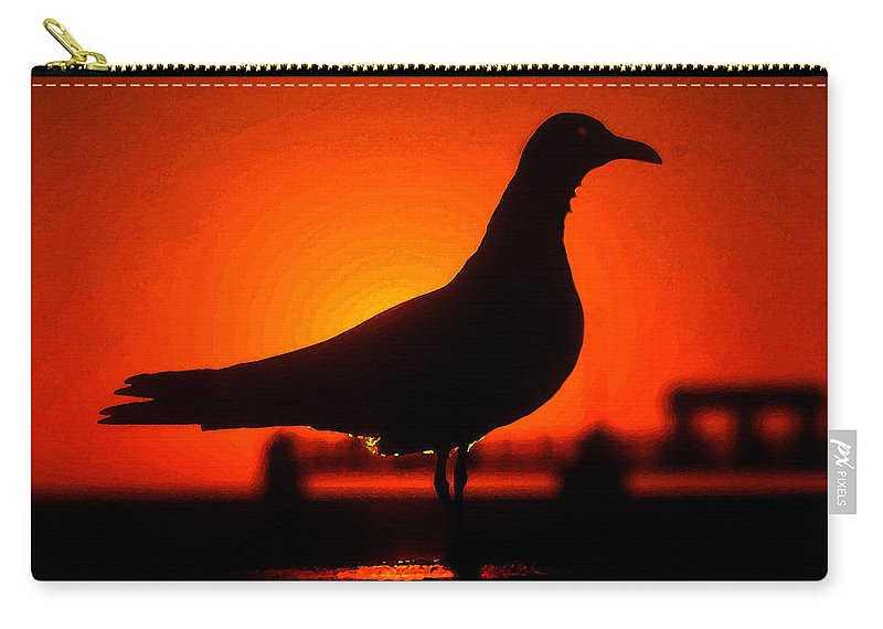 Bird Carry-all Pouch featuring the painting Black Bird Red Sky by David Lee Thompson