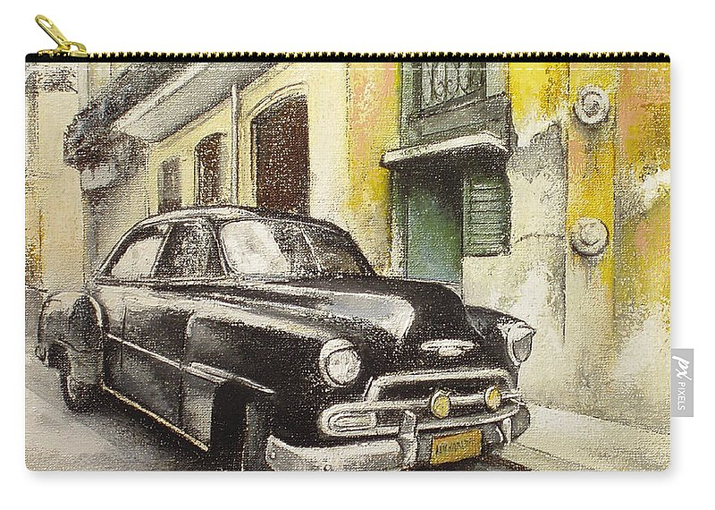 Car Carry-all Pouch featuring the painting Black cadillac by Tomas Castano