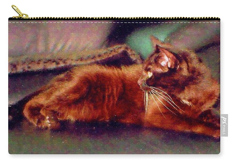 Cat Carry-all Pouch featuring the digital art Black Cat by Anita Burgermeister
