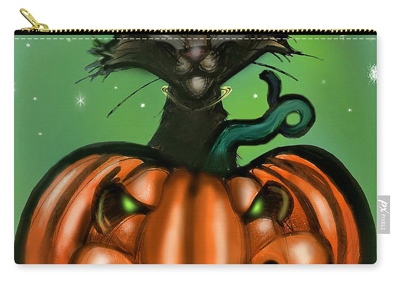Halloween Carry-all Pouch featuring the greeting card Black Cat N Pumpkin by Kevin Middleton