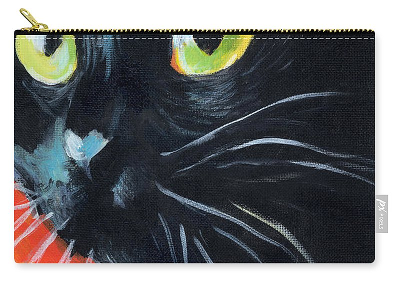 Black Cat Carry-all Pouch featuring the painting Black Cat Painting Portrait by Svetlana Novikova