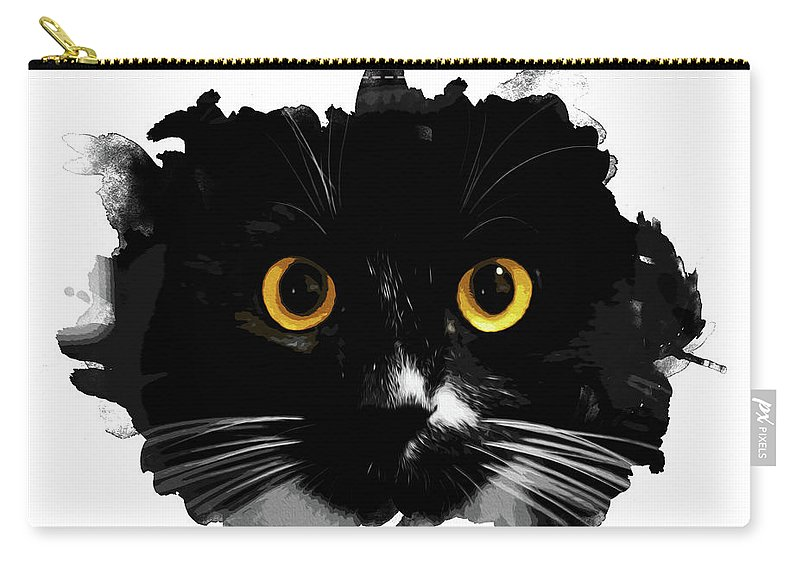 Black Carry-all Pouch featuring the painting Black Cat, Yellow Eyes by Andrea Mazzocchetti