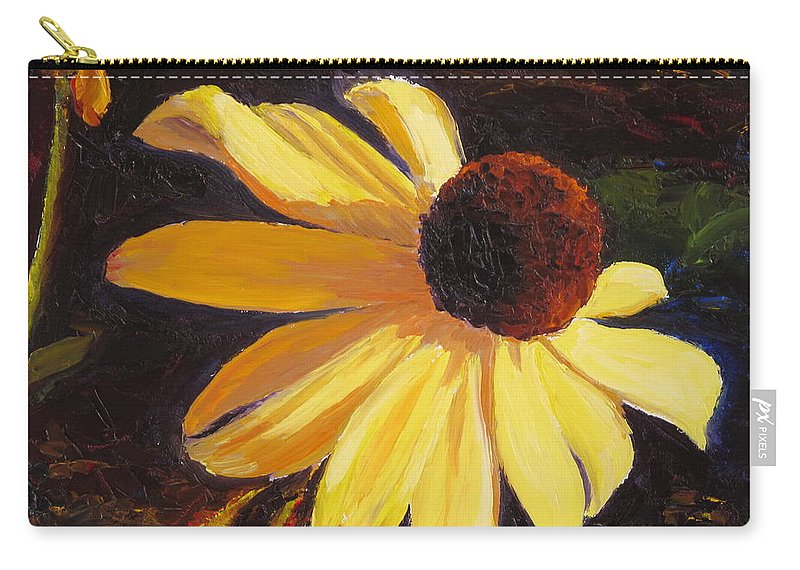 Flower Carry-all Pouch featuring the painting Black-Eyed Susan by Lea Novak