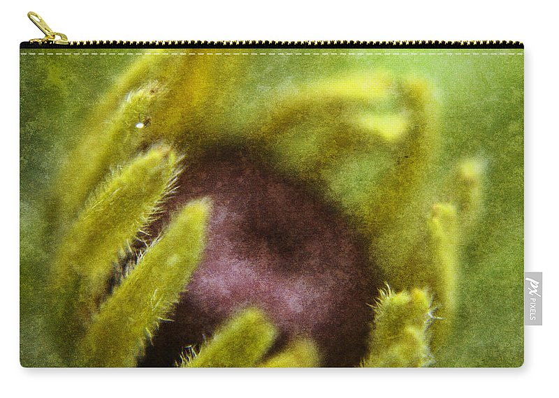 Black Carry-all Pouch featuring the digital art Black Eyed Susan Visitor by Teresa Mucha