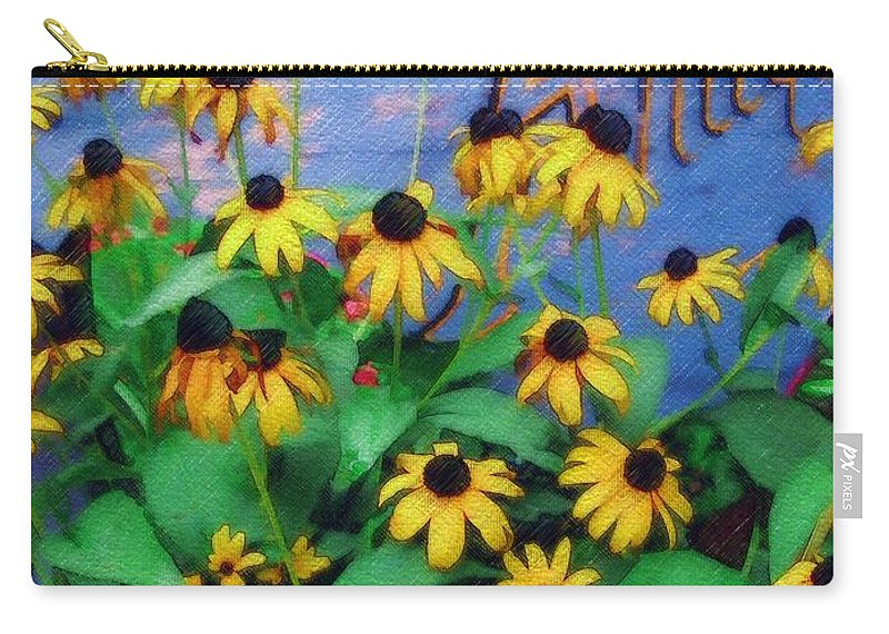 Flowers Carry-all Pouch featuring the photograph Black-eyed Susans At The Bag Factory by Sandy MacGowan