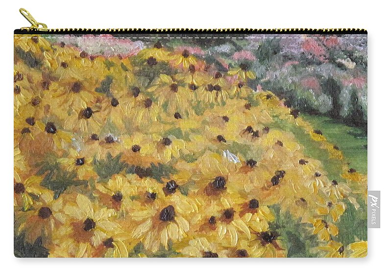 Floral Carry-all Pouch featuring the painting Black-eyed Susans by Lea Novak