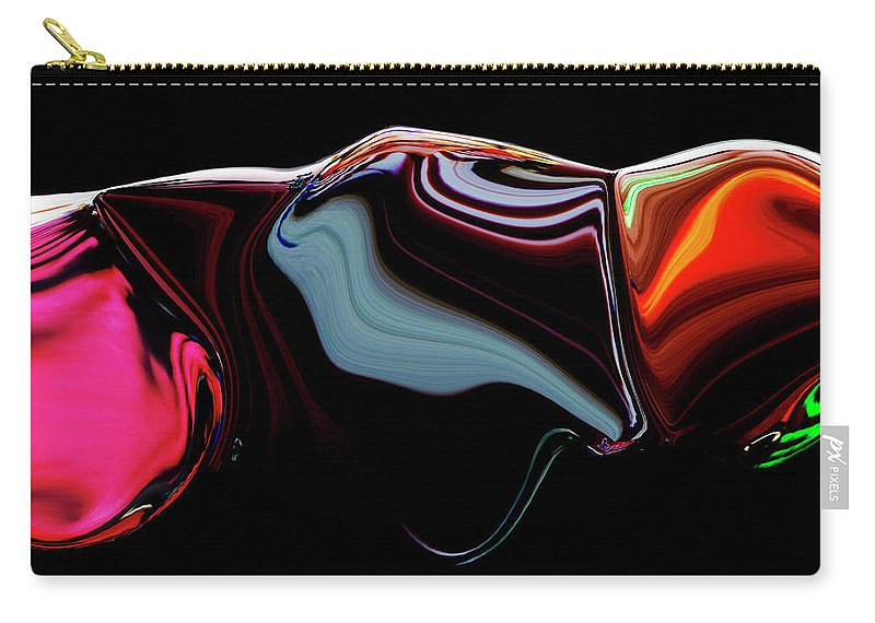 Modern Carry-all Pouch featuring the digital art Black Ice by Ralf Nau