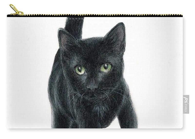 Cat Kitten Art Bruce Lennon Carry-all Pouch featuring the painting Black Kitten by Bruce Lennon