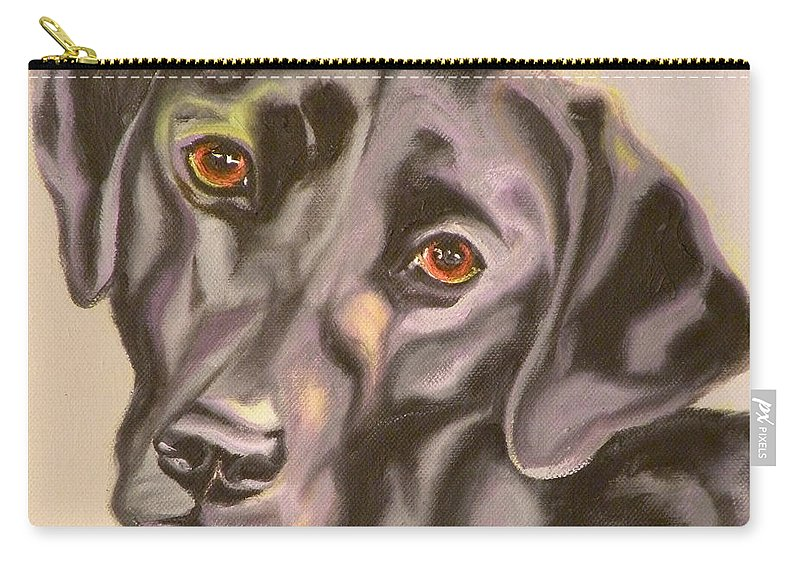 Giclee Carry-all Pouch featuring the painting Black Lab Aint No Cure For Love by Susan A Becker