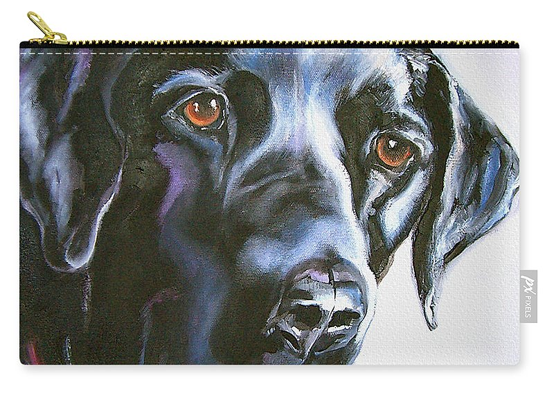 Dogs Carry-all Pouch featuring the painting Black Lab No Ordinary Love by Susan A Becker