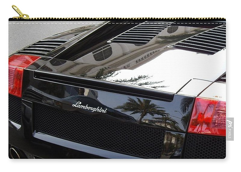 Black Lamborghini Car Carry-all Pouch featuring the photograph Black Lamborghini Sports Car by Mariola Bitner