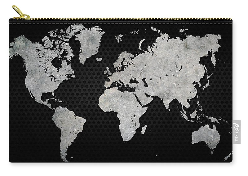 Black Metal Industrial World Map Carry-all Pouch on