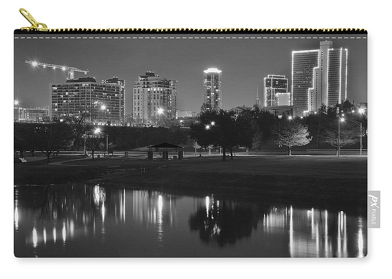 Fort Carry-all Pouch featuring the photograph Black Night In Fort Worth by Frozen in Time Fine Art Photography
