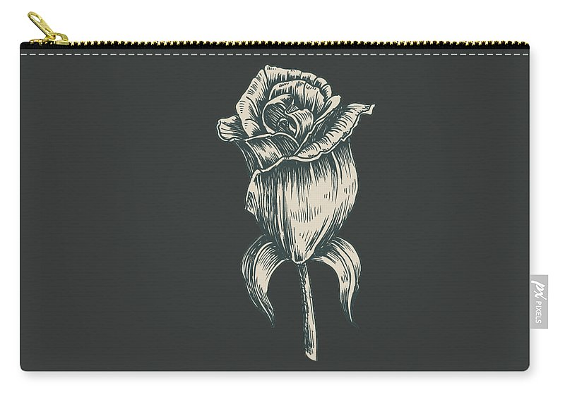 Vintage Rose Carry-all Pouch featuring the digital art Black On Black by ReInVintaged