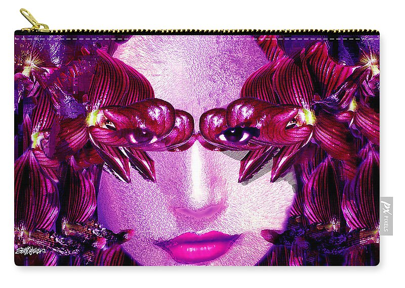 Oriental Carry-all Pouch featuring the digital art Black Orchid Eyes by Seth Weaver