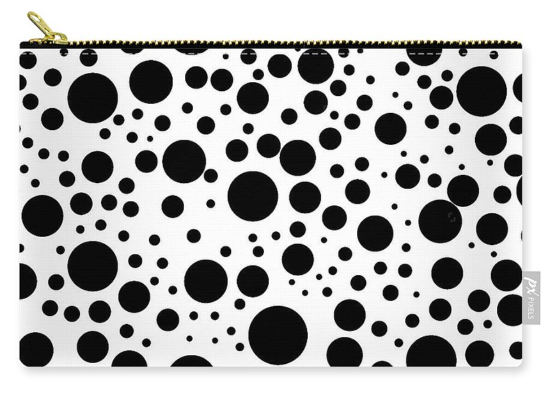 Black Circles Carry-all Pouch featuring the digital art Black Psychedelic Circles by Long Shot