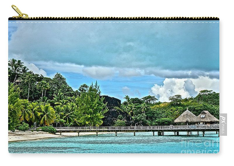 Bora Bora Carry-all Pouch featuring the photograph Black Rock Beach by Ivana Kovacic
