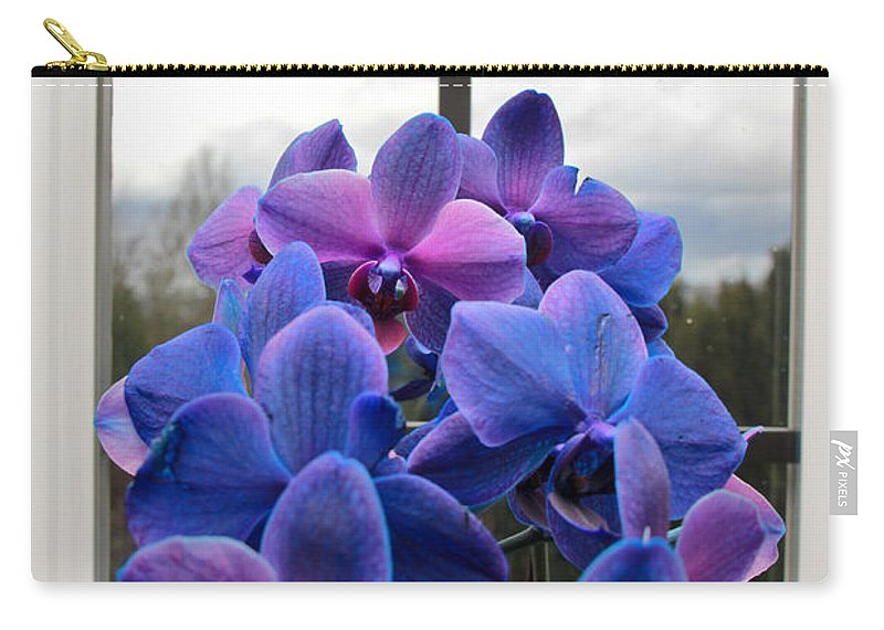 Orchids Carry-all Pouch featuring the photograph Black Sapphire Orchids by Aaron Berg