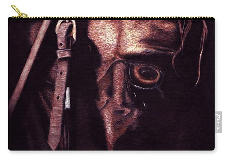 Horse Carry-all Pouch featuring the drawing Black Sterling II by Kristen Wesch