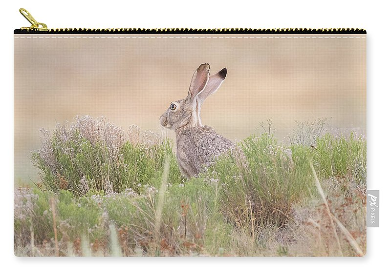 Jackrabbit Carry-all Pouch featuring the photograph Black-tailed Jackrabbit Keeps Watch by Tony Hake