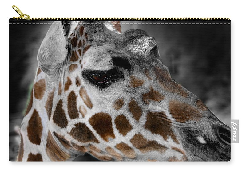 Giraffe Carry-all Pouch featuring the photograph Black White And Color Giraffe by Anthony Jones