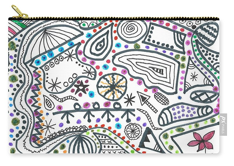 Doodle Art Carry-all Pouch featuring the drawing Black White And More by Susan Schanerman